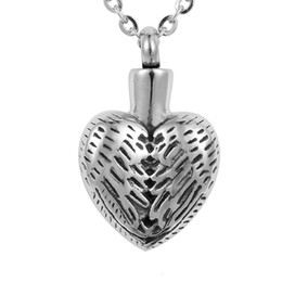 Chinese  Lily Stainless Steel Vintage Angel Wing Heart Cremation Jewelry Ashes Pendant Keepsake Memorial Urn Necklace With Gift Bag And Chain manufacturers