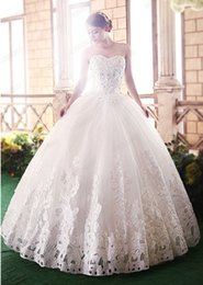 Barato Vestidos De Princesa Peito-Hot New Arrivals Fantastic Beatiful Sleeveless Elegant Sweet Princess Appliques / Beads Encaixe embrulhado Chest Ball Gown Wedding Dresses