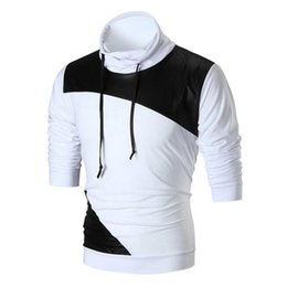 $enCountryForm.capitalKeyWord UK - New Men's Sweatshirt Fashion Long Sleeve High Collar Leather Patchwork Drawstring Pullover Tops Coat