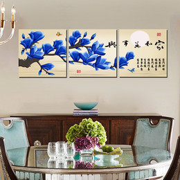 bird pictures print Canada - 3 Pieces unframed on Canvas Prints Abstract cartoon flower butterfly chinese characters poetry branch moon fish bird Plum Peach blossom