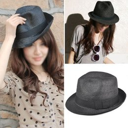 Straw Hat Trilby Canada - Wholesale-Free Shipping Arrive Straw Hat Fedora - Panama Trilby Style Packable Crushable Summer Sun Mens Ladies