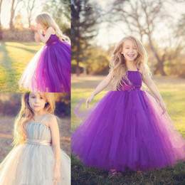 Filles Bouffis Robes À Vendre Pas Cher-2015 Hot Sale Princess Flower Girls Robes Spaghetti Puffy Tulle Tiers Plissé Cheville-Longueur Robes pour Little Girl Pageant Robes