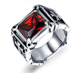Red Band Canada - 20% off Mens Rings Stainless Steel Christ Crosses Design Red and Black CZ Bands