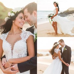 color high low wedding dresses Canada - 2017 Bohemian Beach Lace Short Wedding Dresses With Chiffon Long Detachable Skirt High Low Bridal Gowns Custom Made China EN10301