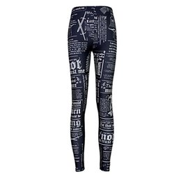 Chinese  2017 NEW 3508 Game of Thrones Newpaper Daily Prints Sexy Girl Pencil Yoga Pants GYM Fitness Workout Polyester Women Leggings Plus Size manufacturers