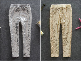 $enCountryForm.capitalKeyWord Canada - 2019 Kids Designer Clothes girls shinny baby Leggings tights Toddle gold sequins pp pants Bottoms little girls clothing kids boutique