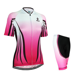 $enCountryForm.capitalKeyWord Canada - Women Stylish Fashion Polyester Lycra Bike Wear Gradient Pink Cycling Jerseys Solid Durable Tops And Shorts For A Summer Of Road Racing