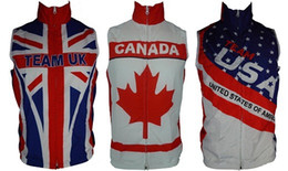 team usa clothing NZ - Wholesale-2015 Team USA Canada UK Cycling Windproof Vest sports sleeveless Clothing Windbreaker