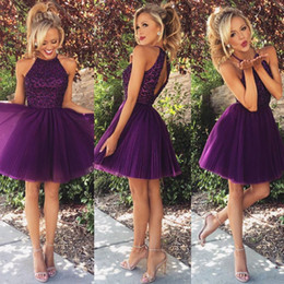 Robes Pourpre À Perles Courtes Pas Cher-Charming Purple A Line Homecoming Robes Halter High Neck perlée Plis Tulle Mini Robes courtes Cocktail Prom Party Robe 2015
