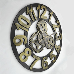 hand made wooden clock oversized rustic home decorative retro vintage art luxury wall clocks large gears designed on the wall d009