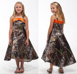 Robes De Demoiselle D'honneur Orange Pas Cher-2016 Robes de fille à fleurs Camo Realtree Camouflage Robes de princesse enfant A Line Spaghetti Robe de demoiselle d'honneur junior BA0557
