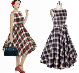 Robe De Balle Rockabilly Pas Cher-2016 Hot Audrey Hepburn 1950S Rockabilly Robes Casual Ball Gown Vintage Plaid Style Slim Knee Longueur Femmes Robes