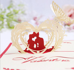 $enCountryForm.capitalKeyWord Australia - 10pcs Hollow Groom Bride Heart Butterfly Kirigami Origami 3D Pop UP Greeting Cards Invitation Postcard For Wedding Party Gift