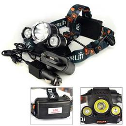 Discount boruit headlamps - HOT Boruit 5000 Lumen 3XCREE XM-L T6 LED Headlamp Headlight 18650 Head Torch Lamp+AC Charger+Car Charger for Outdoor Cam