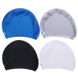 Hair Swimming NZ - Wholesale- Elastic Swimming Cap Unisex Universal Silicone Rubber Swim Cap Diving Waterproof Hair Ear Protective Hats Swimming Accessories
