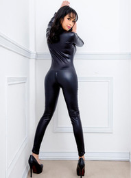 Costumes Pour Femme Pas Cher-Black Women Faux cuir mouillé PVC Catsuit Ladies Fille Fancy Dress Jumpsuit Clubwear Exotique