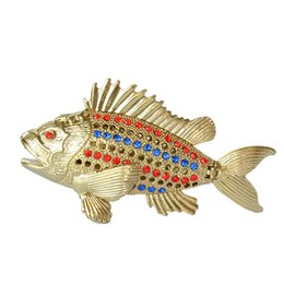 ring ornament UK - Crystal Bejeweled Fish Trinket & jewelry box for ring nautical ornament decoration collectible gifts