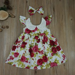 Algodón Impresa Vestidos De Verano Baratos-Everweekend Niños Niñas Summer Fly Sleeves Fashion Print Rose Flores Vestido Princess Bow Ins Hot Baby Girls Vestido de algodón