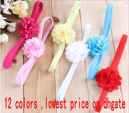 Wholesale Childrens Chiffon Floral Headbands Baby Cute Hair Accessories Girls elastic Headbands Kids Baby head bands Hairbands hair wear headdress