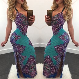 Sexy Blue Clothes For Women Canada - New Summer Sexy Club Women Dresses Plus Size Clothing Elastic Long Slim Dress for Women 2017 New Free Shipping