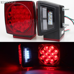led trailer truck tail light NZ - DC 12V Car Truck Trailer Stop Brake Light Submersible Square Warning Light Lamp Side Marker LED Rear Tail Light