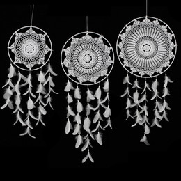 dream catcher handmade 2019 - Large Size 130cm Handmade Crochet Lace Wind Chimes White Dream Catcher circular With Feathers Wedding Party Hanging Deco