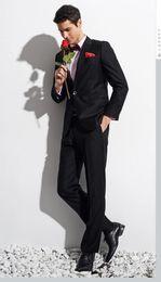 $enCountryForm.capitalKeyWord Canada - Wholesale - 2016 New Fashion Trend Custom Made Black One Button Men's Suit Bridal Groom Suits Tuxedo Jacket+Pants Handsome Men's Suit