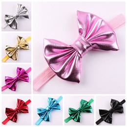baby gold headbands girls shiny hair bows childrens large bow hair  accessories infant elastic band kid christmas head wraps toddler headwear 91fcb065f5c5