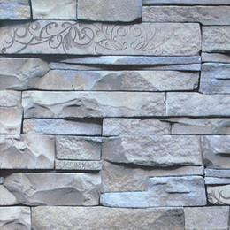 modern design chinese retro 3d effect grey brick wallpaper vintage natural stacked stone wallpaper tile brick wall wallpaper