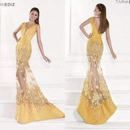 Tarik Ediz Robe En Cristal Tulle Pas Cher-Vintage 2015 Tarik Ediz Robes de soirée jaune Deep V-Neck satin Illusion jupe sirène Celebrity Dress Backless parole longueur des robes de bal