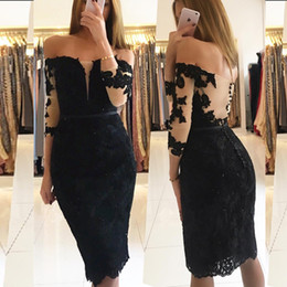 $enCountryForm.capitalKeyWord NZ - New Knee Length Party Dress Little Black Lace Cocktail Dresses Off the Shoulder Beaded Appliques Illusion Sleeves Sheath Formal Gown