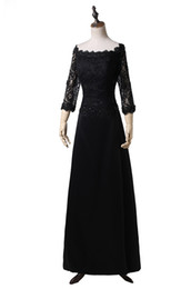 Barato Vestido De Renda Vintage Para Senhoras-Real Photo Black Mother of the Bride Dresses Off Shoulder 3/4 Sleeve Beaded Lace Satin Ladies Vestido formal Zipper Back Custom M50