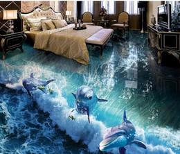 Dolphin Room Canada - Dolphin Ocean Wave World 3D bathroom living room floor Floor mural wallpaper