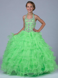 $enCountryForm.capitalKeyWord NZ - Girls Pageant Dresses Size 14 Green Organza Halter Ball Gown Beaded Crystals Cute Little Girls Dress Gowns 2016 New Girl Special Party Gown