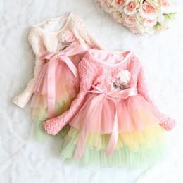 $enCountryForm.capitalKeyWord Canada - PrettyBaby kids dress with flower tutu layer dress full sleeve baby girl lace princess dress girls rainbow dress free shipping in stock