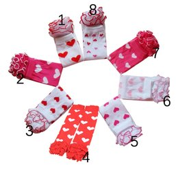 Barato Ruffle Love Heart-Pretty Baby New Girls Day Leg Valentine Warmer infantil para crianças de algodão polainas meninas do amor do coração Ruffle legwarmer Algodão Leg Warmer