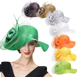 Barato Chapéu Do Derby Do Véu-Lawliet Wide Brim Womens Satin Crin Feather Veil Flor Igreja Derby Race Tea Party Dress Hat A433