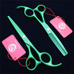 "Barber Thinning Shears Australia - Z1023 6"" Japan 440C Purple Dragon Laser Green Professional Human Hair Scissors Barbers' Scissors Cutting Thinning Shears Salon Styling Tools"
