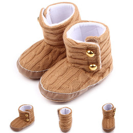 Botines Marrones Del Bebé Baratos-Winter Baby Boys Girls Brown Botas de nieve, Botines de punto de moda, Súper cálido recién nacido Niños Soft Sole Shoes