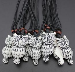 $enCountryForm.capitalKeyWord Australia - Jewelry Wholesale LOTS 12 pcs Imitation Bone Carved Tribal style totem Owl pendant necklace Gift mn451