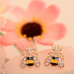 wholesale bee earrings Canada - New Fashion Lovely Insect Bee Rhinestone Plated Gold Stud Earrings for Women Jewelry