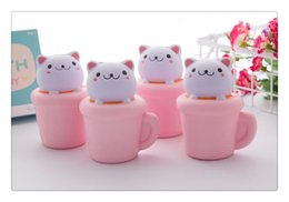 Doll Cakes For Kids Canada - Cup Cat Squishy 13.5*8CM Jumbo Kawaii Pussy Squeeze Cute Animal Slow Rising Scented Bread Cake Phone Straps Kid Toy Gift Doll Wholesale