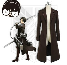 Manteaux De Tranchées Marron Pour Hommes Pas Cher-Attaque sur Titan Trench Hommes Shingeki no Kyojin Brown Costume Long manteau Halloween Cosplay Daily Wear