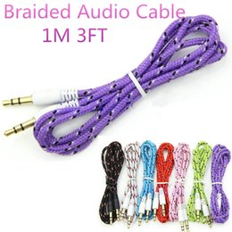 Aux Speakers Canada - 3.5 mm Stereo AUX Audio Braided Fabric Cable 1M 3FT Woven Male to Male Cable for iphone 7 6s Samsung S7 Edge MP3 Headphone Speaker