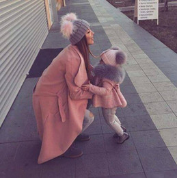 BaBy winter set fur online shopping - Warm Mother Baby Knit Hats Solid Color Fur Double Pom Pom Hat Parent child Hat Caps Beanie Skullies Winter Cap Set LJJO3631