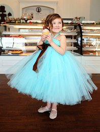 $enCountryForm.capitalKeyWord Canada - Cheap Mint Green Flower Girls' Dresses 2018 Tutu Dress Halter Ball Gown Ankle Length Wedding Party Gown Girl Pageant Gowns For Communion