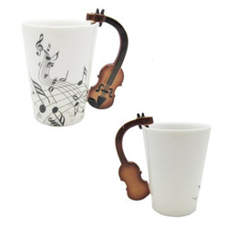tea music note UK - Love Music Violin Notes Holds Tea Coffee Milk Ceramic Bone China Mug With Handgrip Best Christmas Gift With Gift Box White