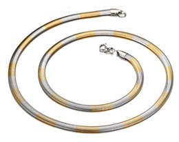 $enCountryForm.capitalKeyWord Canada - Brand New Charming True Never Fade 316L Stainless steel Gold Silver Two Tone Flat Snake Link chain Necklace Unisex 24'' 4.2mm