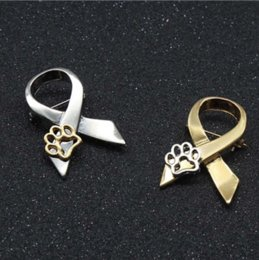 Wholesale Paw Print Australia - Fashion Gold Silver Paw Print Animal Cruelty Awareness Ribbon Brooch Pin Cat Dog Pins