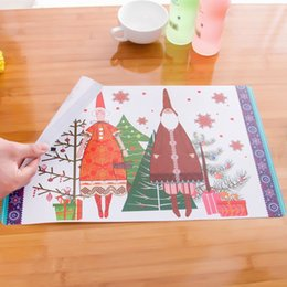 Christmas Tables Canada - Christmas Party Table Cloth Creative Christmas Snowman Color Placemats Insulation PP Pad Party Decoration for Sale SD701
